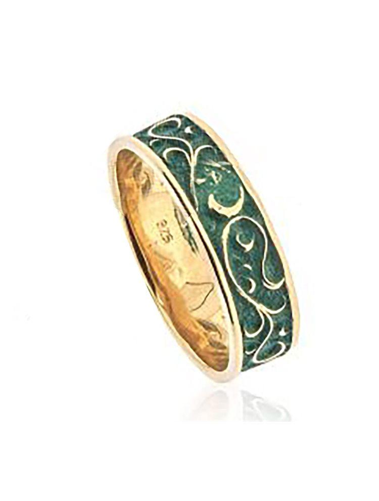 Χειροποίητο δαχτυλίδι από επιχρυσωμένο ασήμι και με σμάλτο