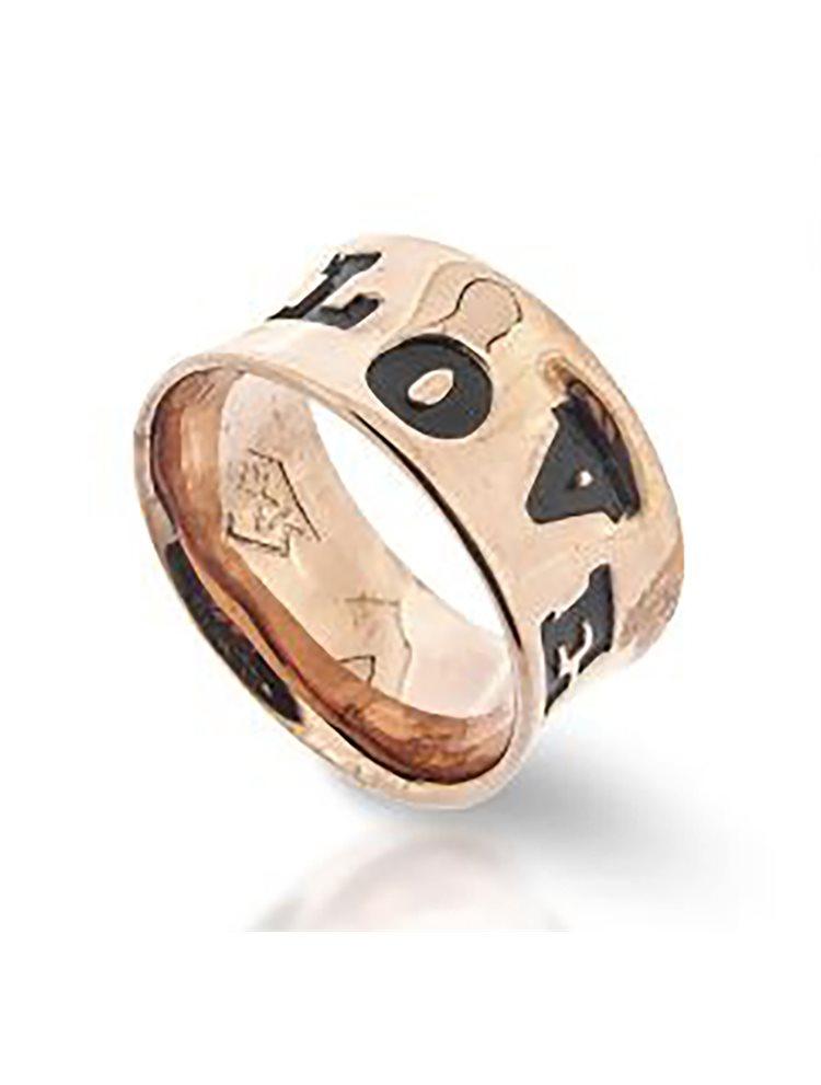 Χειροποίητο δαχτυλίδι συλλογή Love promises από ρόζ επιχρυσωμένο ασήμι με σκαλιστά γράμματα