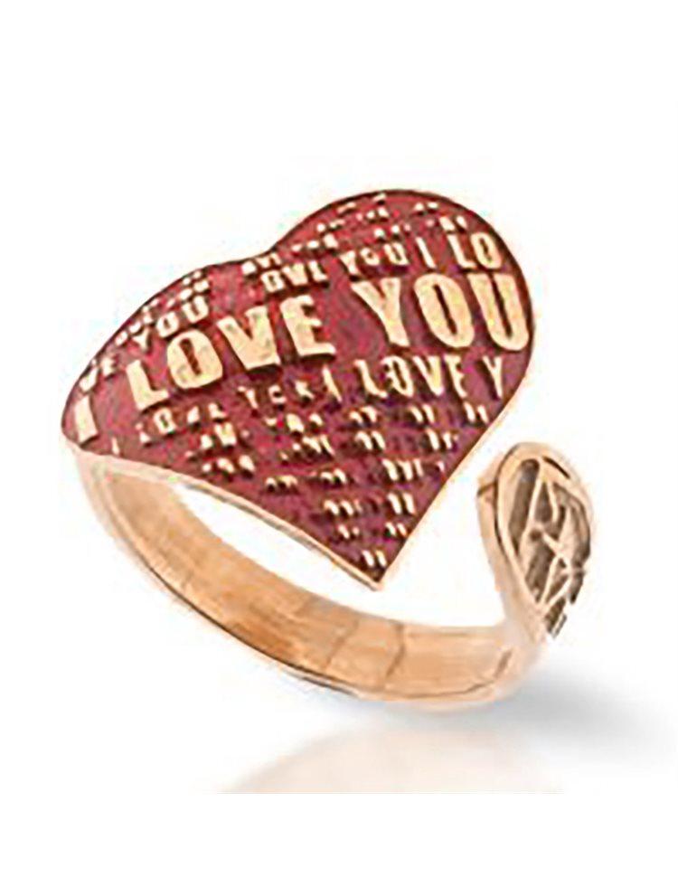 Χειροποίητο δαχτυλίδι συλλογή Love promises από ρόζ επιχρυσωμένο ασήμι με σκαλιστά γράμματα και σμάλτο