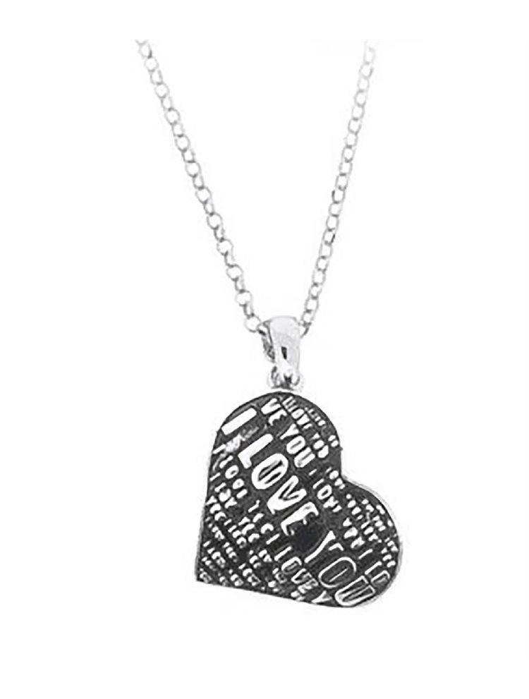 Μοντέρνο κολιέ κολιέ συλλογή Love promises από ασήμι με σκαλιστά γράμματα και σμάλτο