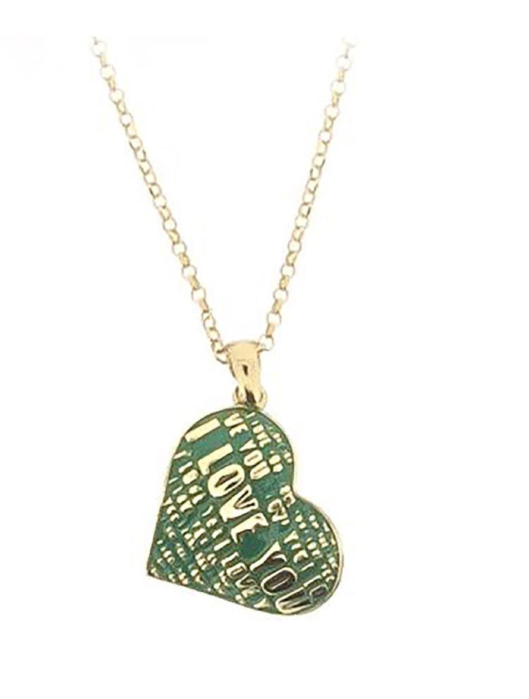 Μοντέρνο κολιέ κολιέ συλλογή Love promises από επιχρυσωμένο ασήμι με σκαλιστά γράμματα και σμάλτο