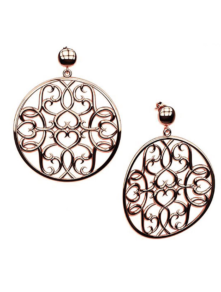 Εντυπωσιακό χειροποίητα σκουλαρίκια συλλογή Oriental από ρόζ επιχρυσωμένο ασήμι