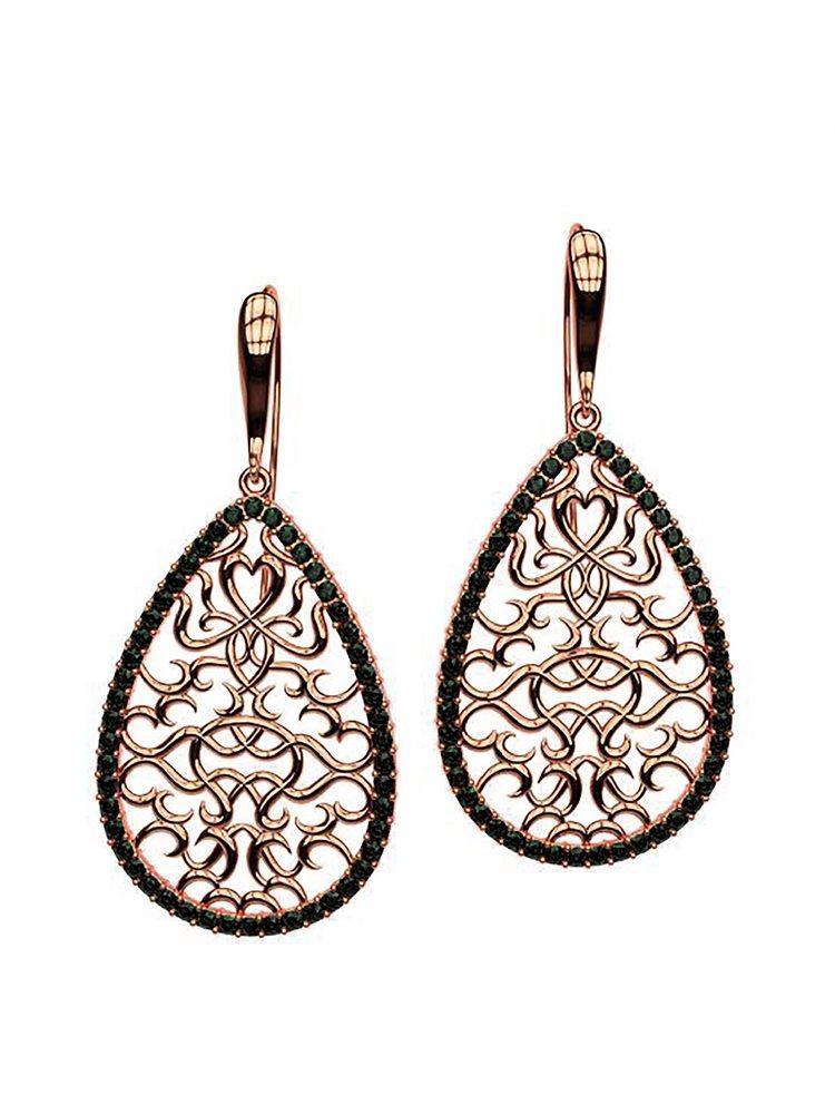 Εντυπωσιακό χειροποίητα σκουλαρίκια συλλογή Oriental από ρόζ επιχρυσωμένο ασήμι και πέτρες swarovski