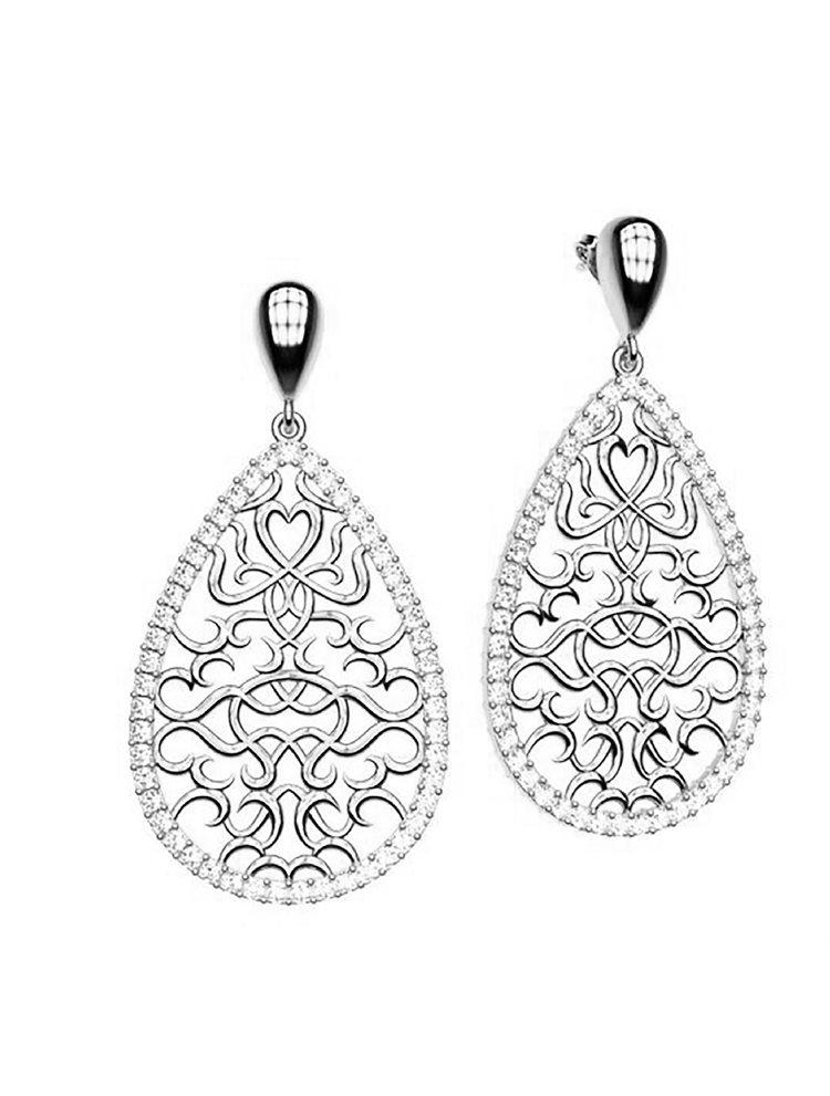 Εντυπωσιακό χειροποίητα σκουλαρίκια συλλογή Oriental από ασήμι και πέτρες swarovski