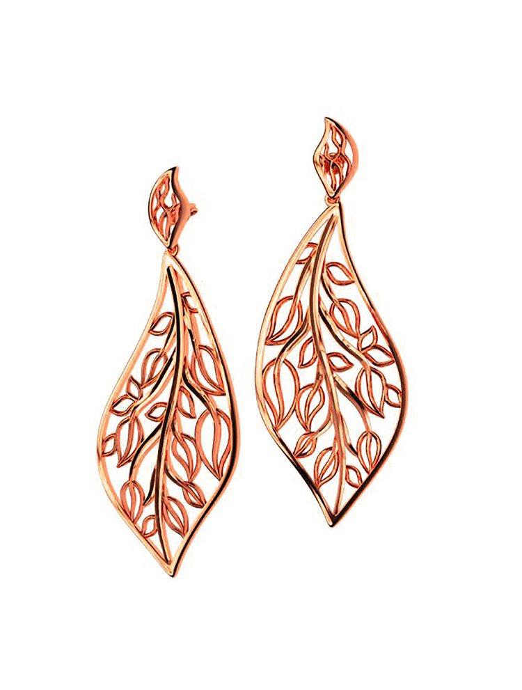 Εντυπωσιακό χειροποίητα σκουλαρίκια συλλογή Leaves από ρόζ επιχρυσωμένο ασήμι