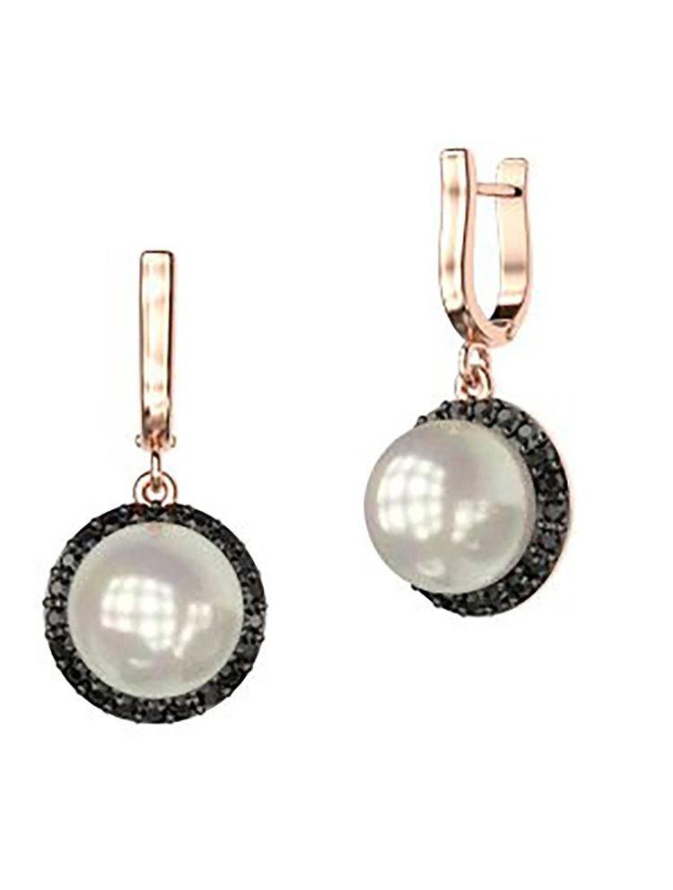 Εντυπωσιακό ζευγάρι σκουλαρίκια συλλογή Bridal από ρόζ επιχρυσωμένο ασήμι με εντυπωσιακή πέρλα και πέτρες swarovski