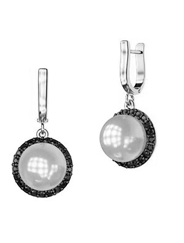 Εντυπωσιακό ζευγάρι σκουλαρίκια συλλογή Bridal από ασήμι με εντυπωσιακή πέρλα και πέτρες swarovski