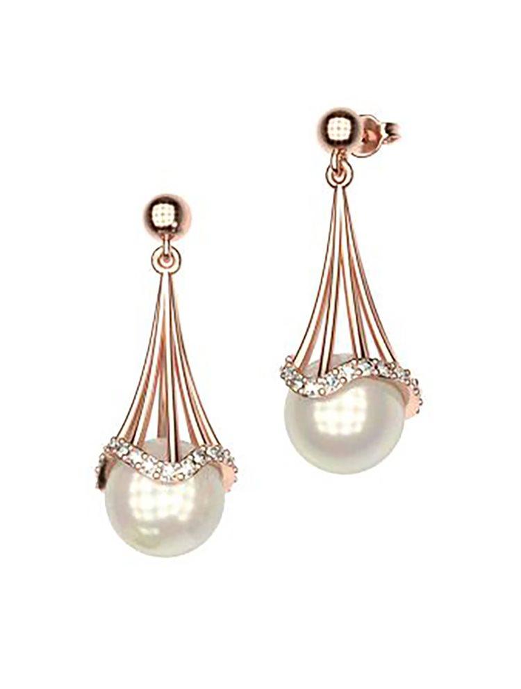 Εντυπωσιακό ζευγάρι σκουλαρίκια συλλογή Counets από ρόζ επιχρυσωμένο ασήμι με εντυπωσιακή πέρλα και πέτρες swarovski