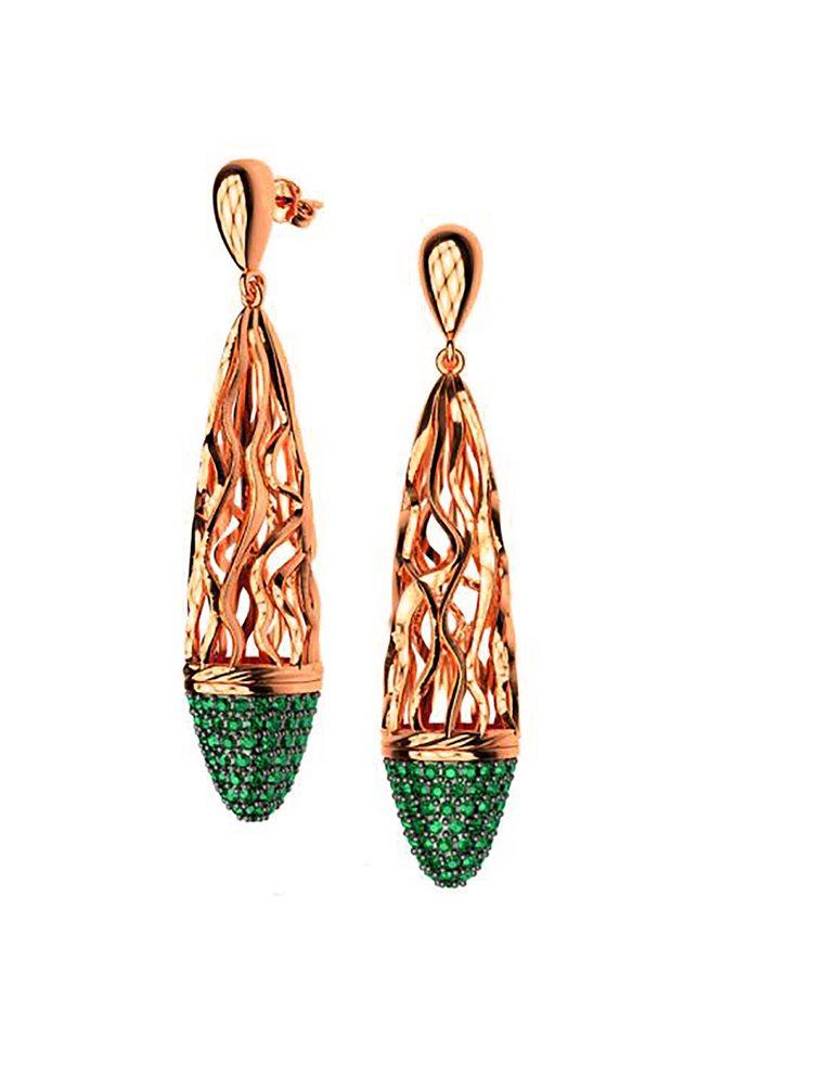Εντυπωσιακό ζευγάρι σκουλαρίκια swarovski συλλογή Foims από ρόζ επιχρυσωμένο ασήμι με πέτρες Swarovski