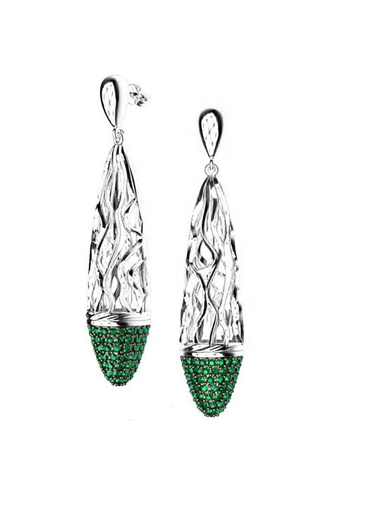 Εντυπωσιακό ζευγάρι σκουλαρίκια swarovski συλλογή Foims από ασήμι με πέτρες Swarovski