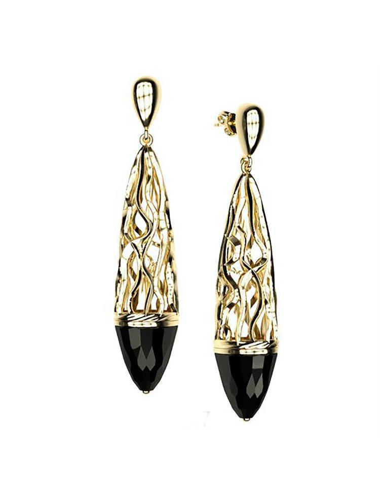 Εντυπωσιακό ζευγάρι σκουλαρίκια swarovski συλλογή Foims από επιχρυσωμένο ασήμι με πέτρες Swarovski