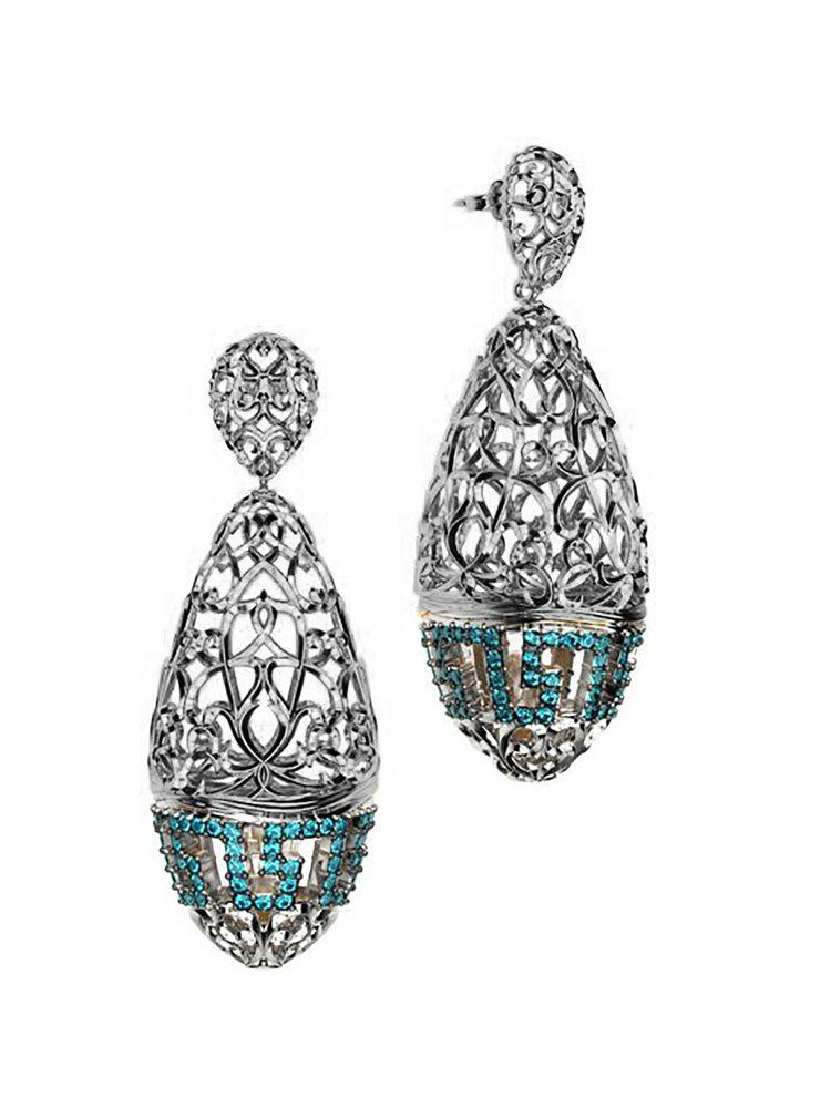 Εντυπωσιακό ζευγάρι σκουλαρίκια συλλογή Fabulous από ασήμι με πέτρες swarovski