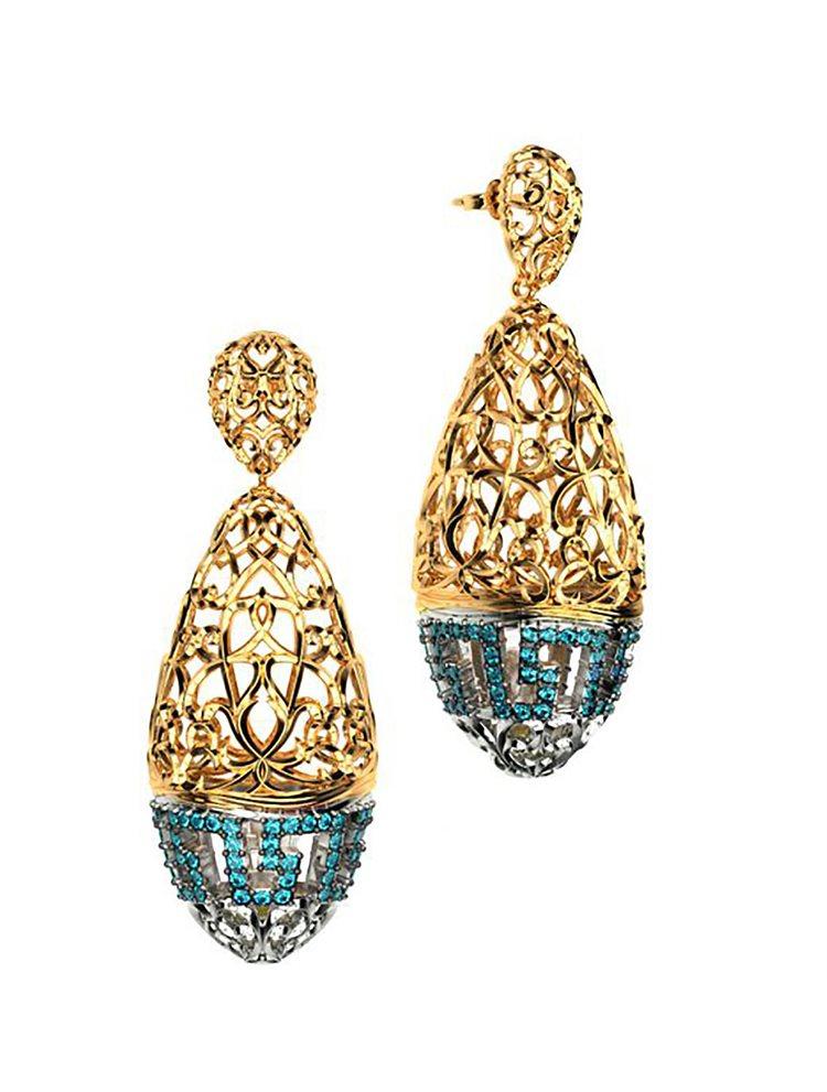Εντυπωσιακό ζευγάρι σκουλαρίκια συλλογή Fabulous από επιχρυσωμένο ασήμι με πέτρες swarovski