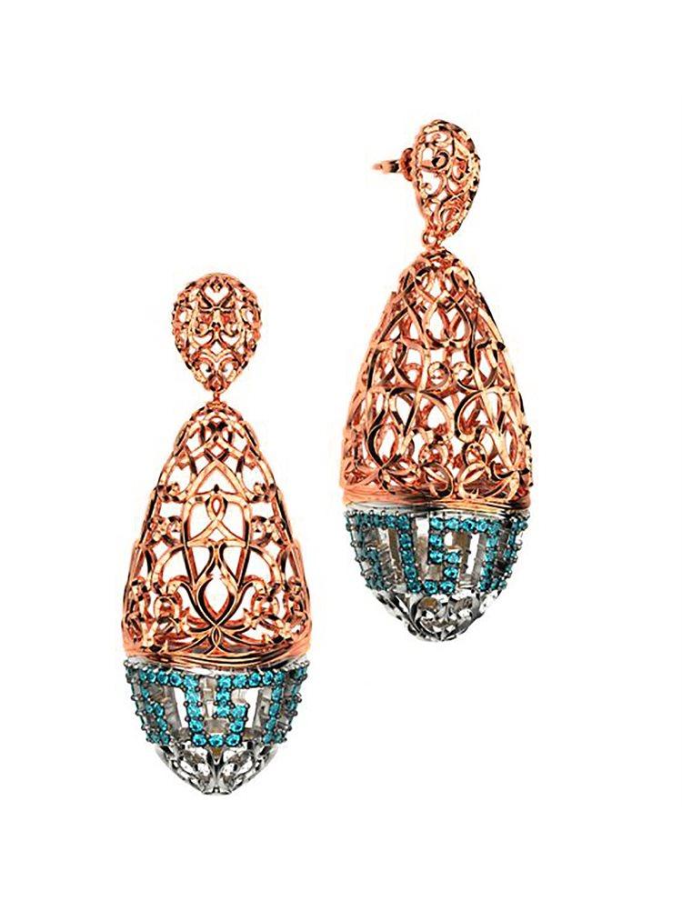 Εντυπωσιακό ζευγάρι σκουλαρίκια συλλογή Fabulous από ρόζ επιχρυσωμένο ασήμι με πέτρες swarovski