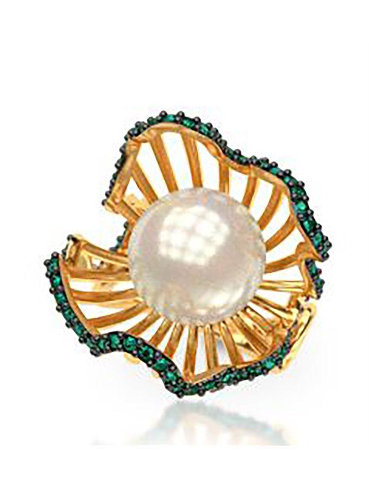 Εντυπωσιακό δαχτυλίδι συλλογή shell από επιχρυσωμένο ασημι με πέρλα και πέτρες Swarovski