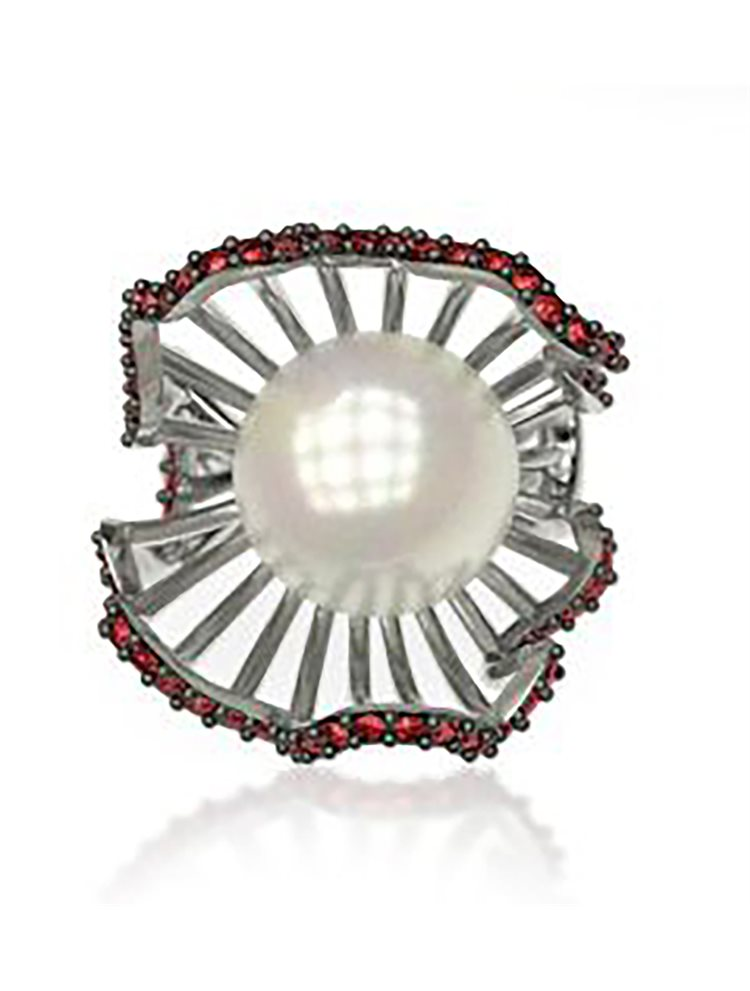 Εντυπωσιακό δαχτυλίδι συλλογή shell από ασημι με πέρλα και πέτρες Swarovski