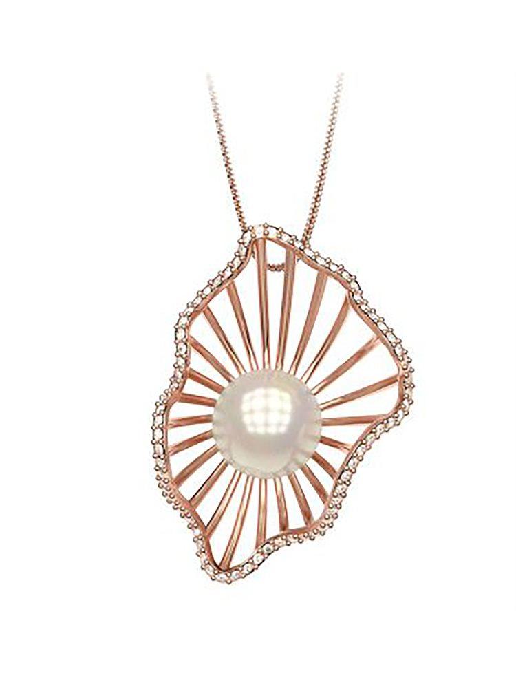 Εντυπωσιακό κολιέ συλλογή shell από ρόζ επιχρυσωμένο ασημι με πέρλα και πέτρες Swarovski