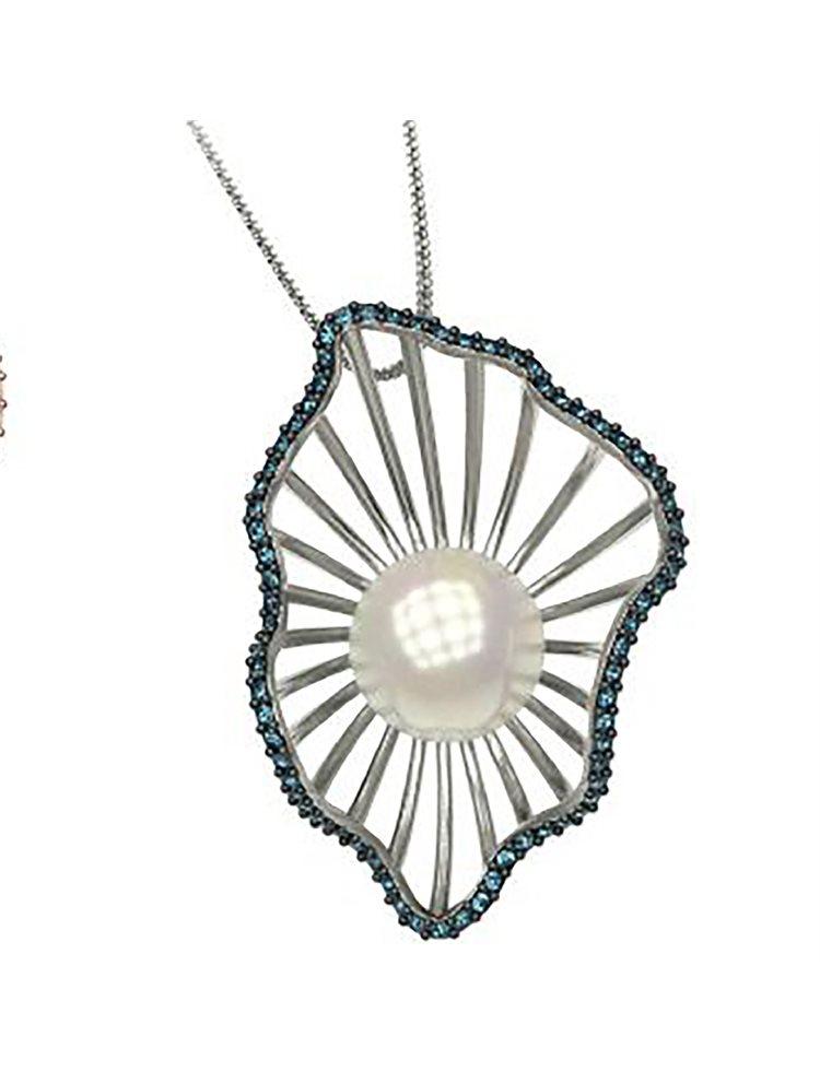 Εντυπωσιακό κολιέ συλλογή shell από ασημι με πέρλα και πέτρες Swarovski