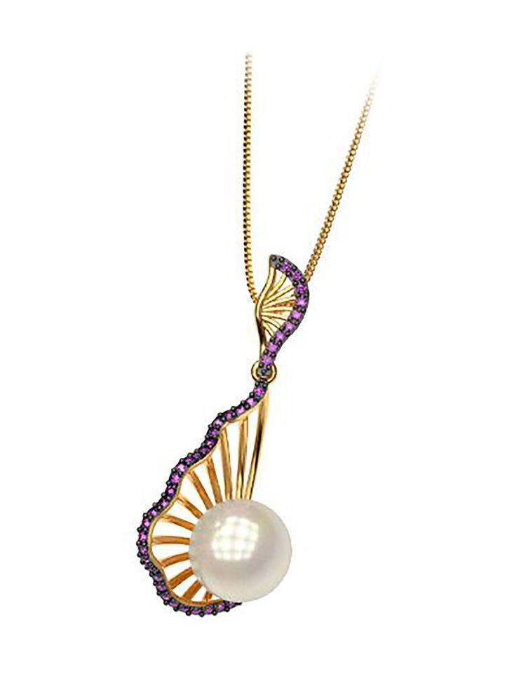 Εντυπωσιακό κολιέ συλλογή shell από επιχρυσωμένο ασημι με πέρλα και πέτρες Swarovski