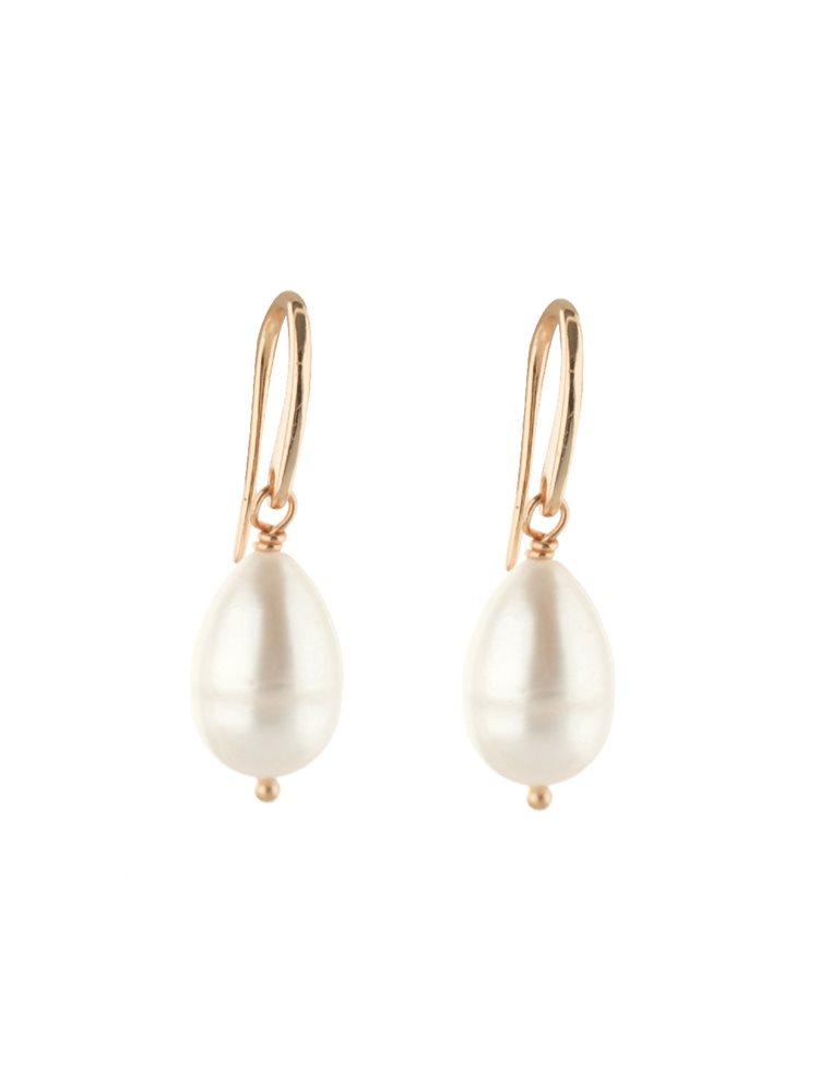 Κρεμαστά σκουλαρίκια από ρόζ επιχρυσωμένο ασήμι με μαργαριτάρια