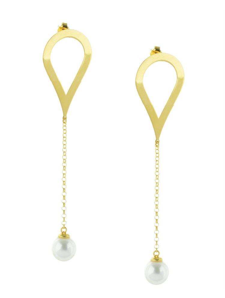Μοντέρνο ζευγάρι σκουλαρίκια γεωμετρικό σχέδιο από επιχρυσωμένο ασήμι