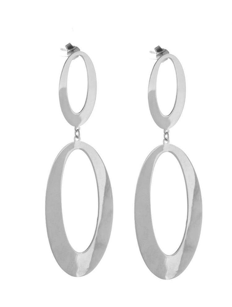 Μοντέρνο ζευγάρι σκουλαρίκια γεωμετρικό σχέδιο από ασήμι