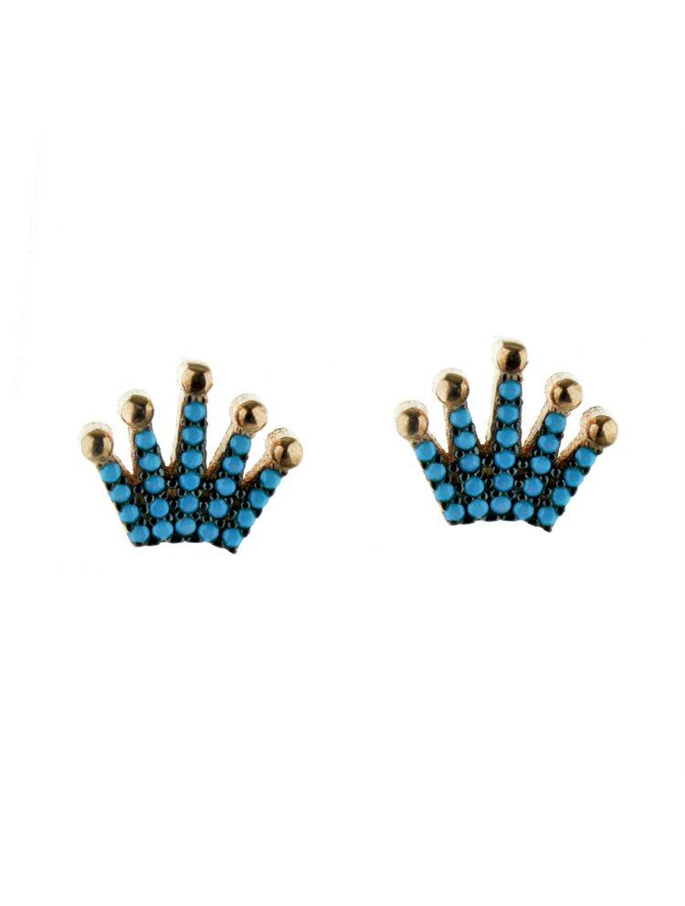 Σκουλαρίκια κορώνες από ρόζ επιχρυσωμένο ασήμι με πέτρες τυρκούαζ