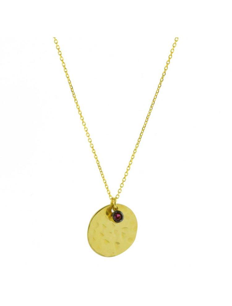 Κολιέ σφυρίλατο φλουρί από επιχρυσωμένο ασήμι με κρεμαστό στοιχείο πέτρα ζιργκόν