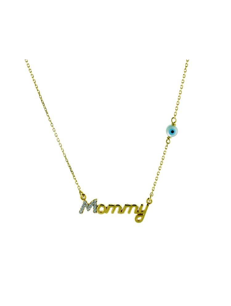 Κολιέ για μάμαδες mommy από επιχρυσωμένο ασήμι με πέτρες ζιργκόν 9e8b4a4c3b9