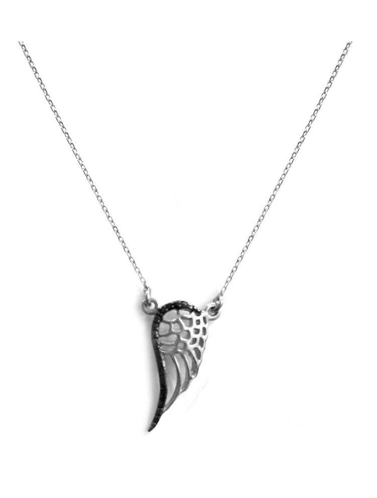 Κολιέ φτερό από ασήμι