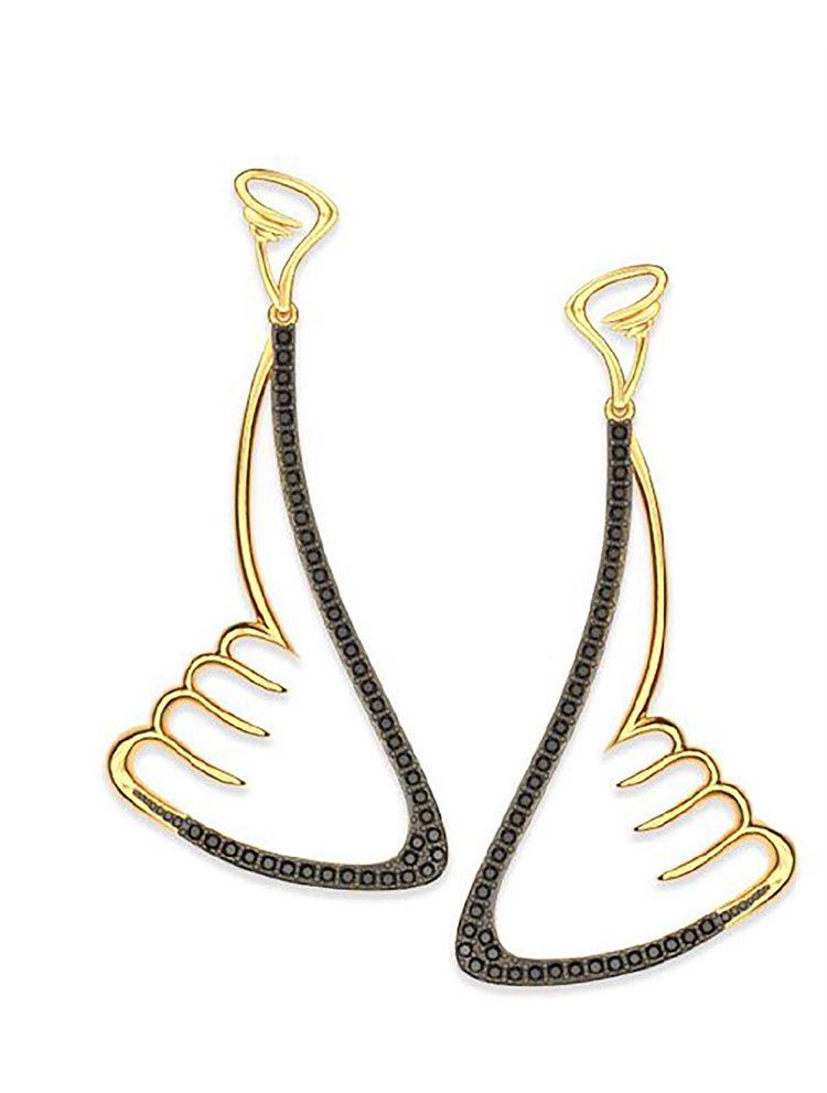 Εντυπωσιακά σκουλαρίκια swarovski από επιχρυσωμένο ασήμι συλλογή wings