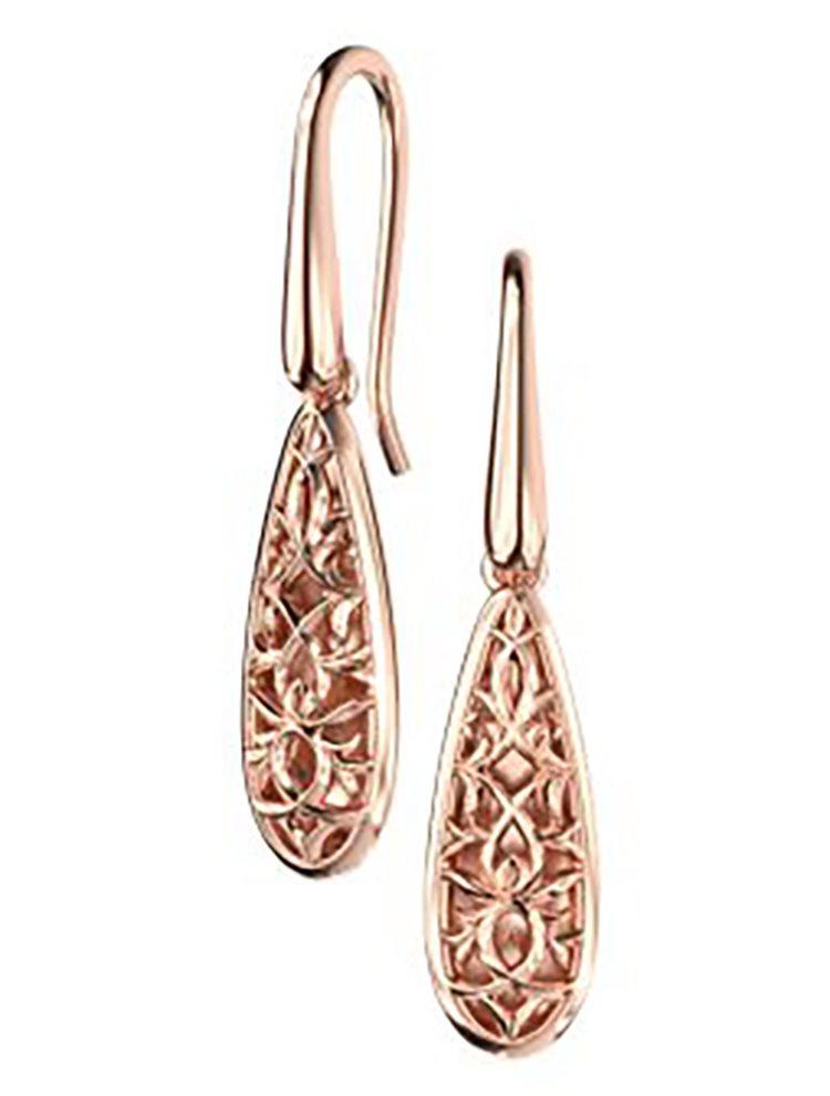 Εντυπωσιακά σκουλαρίκια από ρόζ επιχρυσωμένο ασήμι συλλογή raindrops