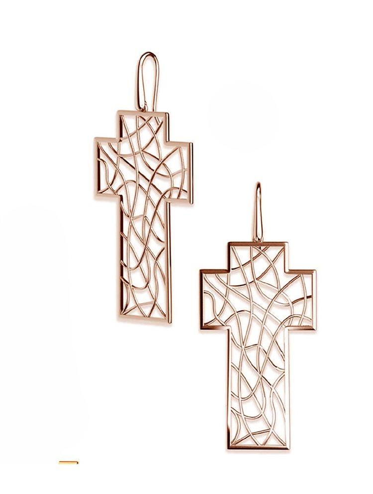 Χειροποίητα σκουλαρίκια σταυροί συλλογή Braided wires από ρόζ επιχρυσωμένο ασήμι