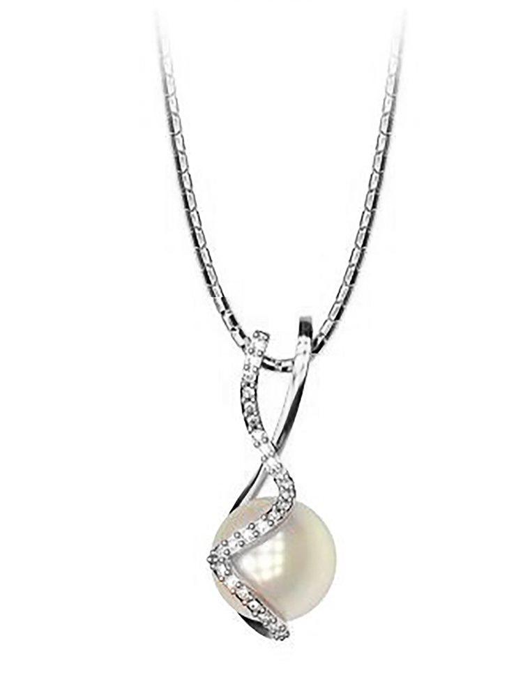 Κολιέ από ασήμι συλλογή Elegant με πέρλα και πέτρες Swarovski