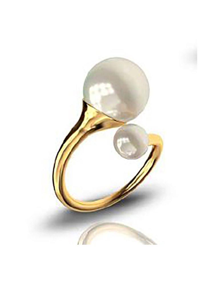 Δαχτυλίδι από επιχρυσωμένο ασήμι συλλογή trumpets με πέρλες