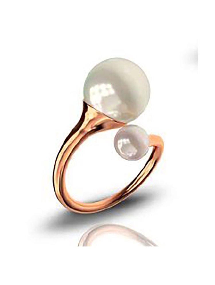 Δαχτυλίδι από ρόζ επιχρυσωμένο ασήμι συλλογή trumpets με πέρλες