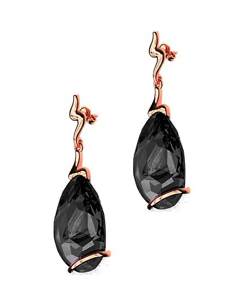 Εντυπωσιακό ζευγάρι σκουλαρίκια swarovski συλλογή crystal waves από ρόζ επιχρυσωμένο ασήμι με πέτρες Swarovski