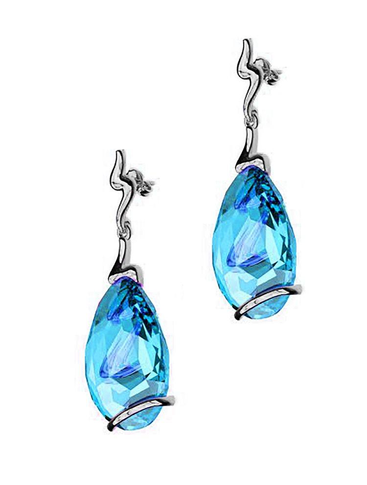 Εντυπωσιακό ζευγάρι σκουλαρίκια swarovski συλλογή crystal waves από ασήμι με πέτρες Swarovski