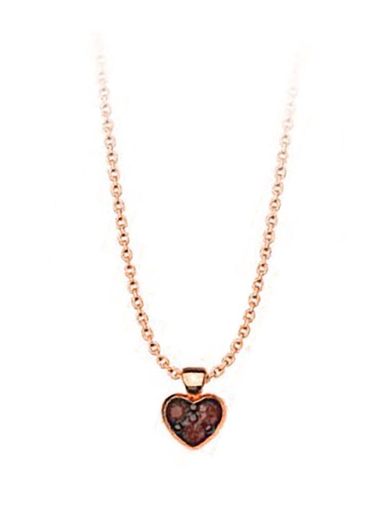 Κολιέ συλλογή Love καρδιά από ρόζ επιχρυσωμένο ασήμι με πέτρες Swarovski