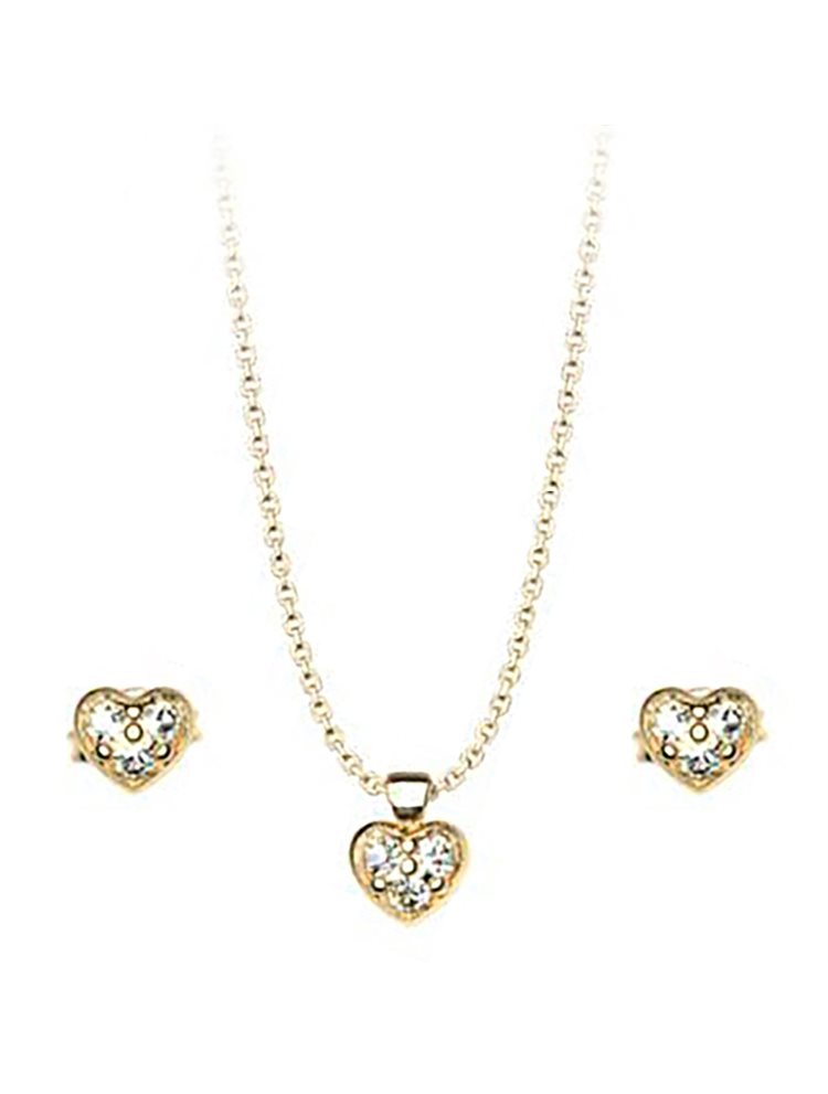 Σέτ κολιέ και σκουλαρίκια συλλογή Love καρδιές από επιχρυσωμένο ασήμι με πέτρες Swarovski