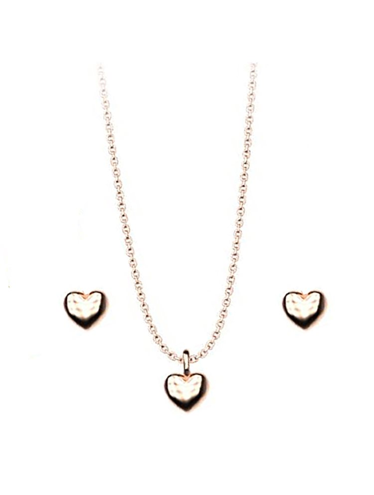 Σέτ κολιέ και σκουλαρίκια συλλογή Love καρδιές από ρόζ επιχρυσωμένο ασήμι