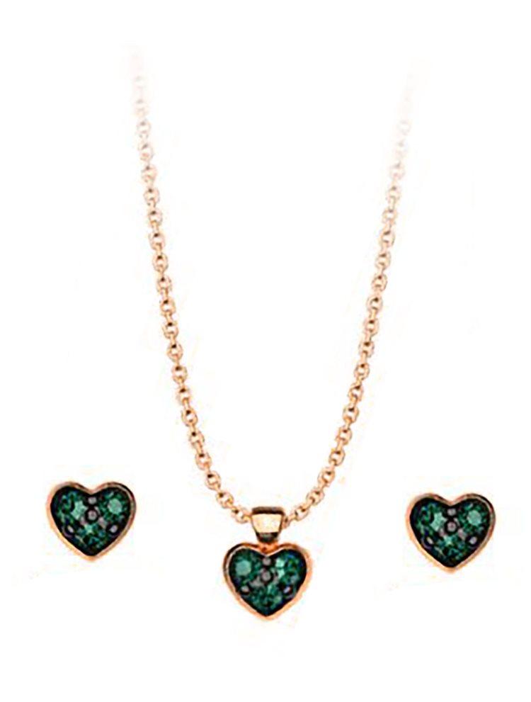 Σέτ κολιέ και σκουλαρίκια συλλογή Love καρδιές από ρόζ επιχρυσωμένο ασήμι με πέτρες Swarovski