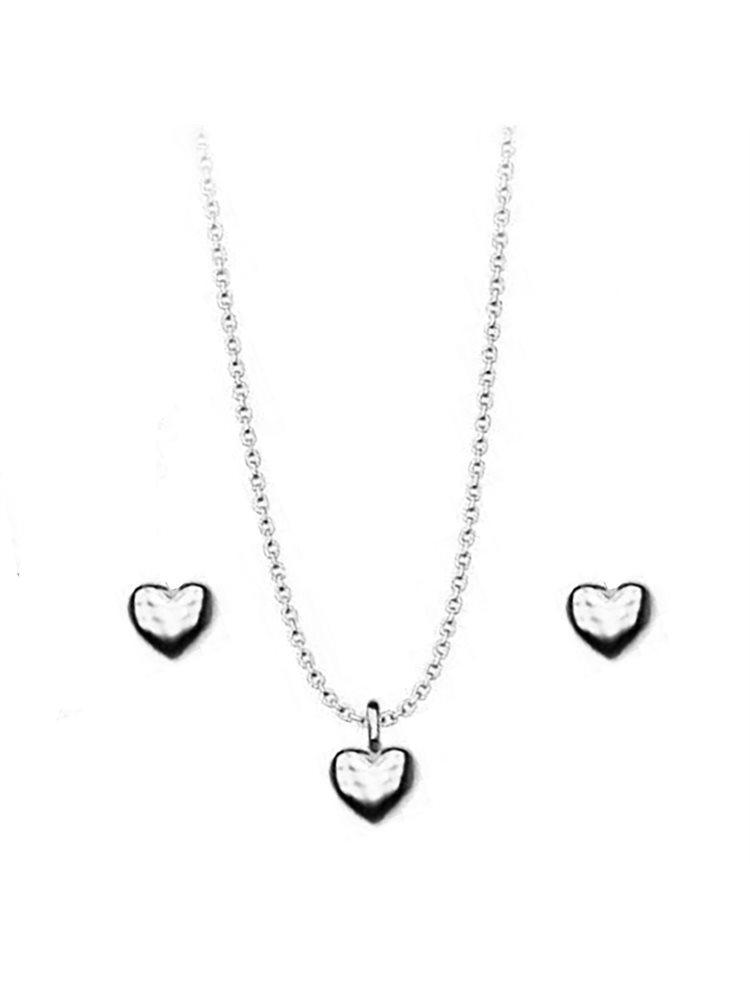 Σέτ κολιέ και σκουλαρίκια συλλογή Love καρδιές από ασήμι