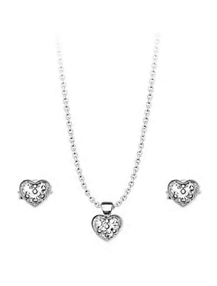 Σέτ κολιέ και σκουλαρίκια συλλογή Love καρδιές από ασήμι με πέτρες Swarovski