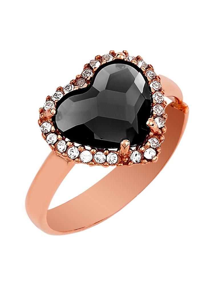 Δαχτυλίδι συλλογή Love καρδιά από ρόζ επιχρυσωμένο ασήμι με πέτρες Swarovski