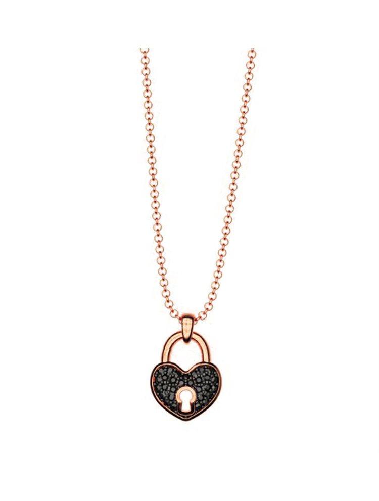 Κολιέ συλλογή Love καρδιά λουκέτο από ρόζ επιχρυσωμένο ασήμι με πέτρα  Swarovski 76e33e1a46d