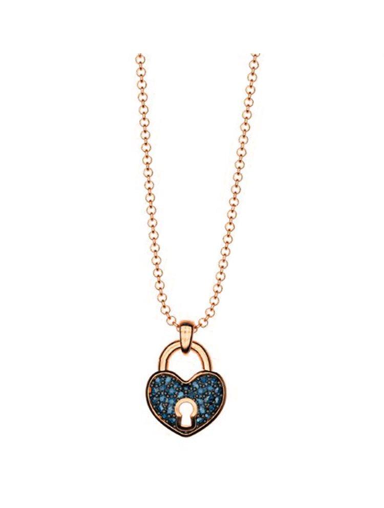 Κολιέ συλλογή Love καρδιά λουκέτο από ρόζ επιχρυσωμένο ασήμι με πέτρα  Swarovski 4ab9813c485