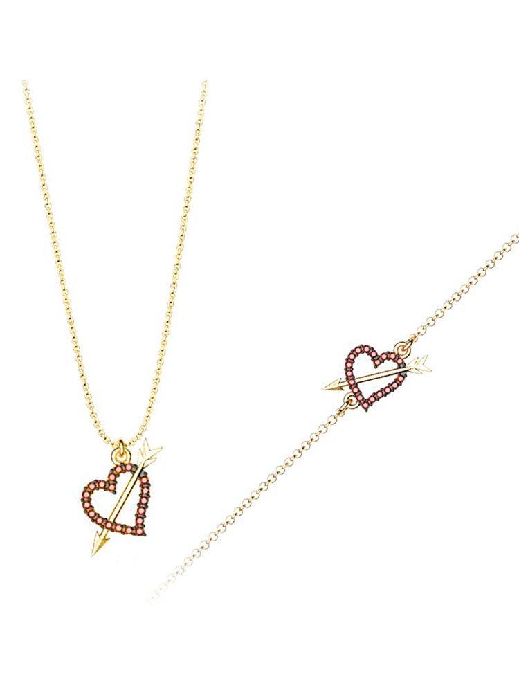 Σέτ κοσμημάτων βραχιόλι και κολιέ συλλογή Love καρδιά με βέλος από επιχρυσωμένο ασήμι με πέτρα Swarovski