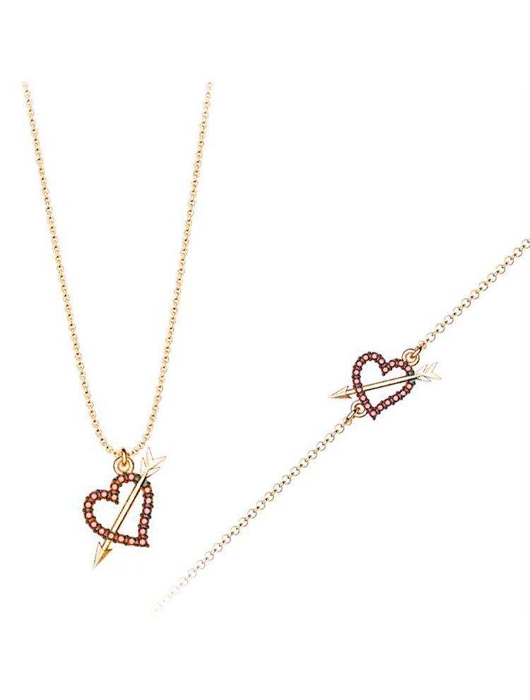 Σέτ κοσμημάτων βραχιόλι και κολιέ συλλογή Love καρδιά με βέλος από ρόζ επιχρυσωμένο ασήμι με πέτρα Swarovski