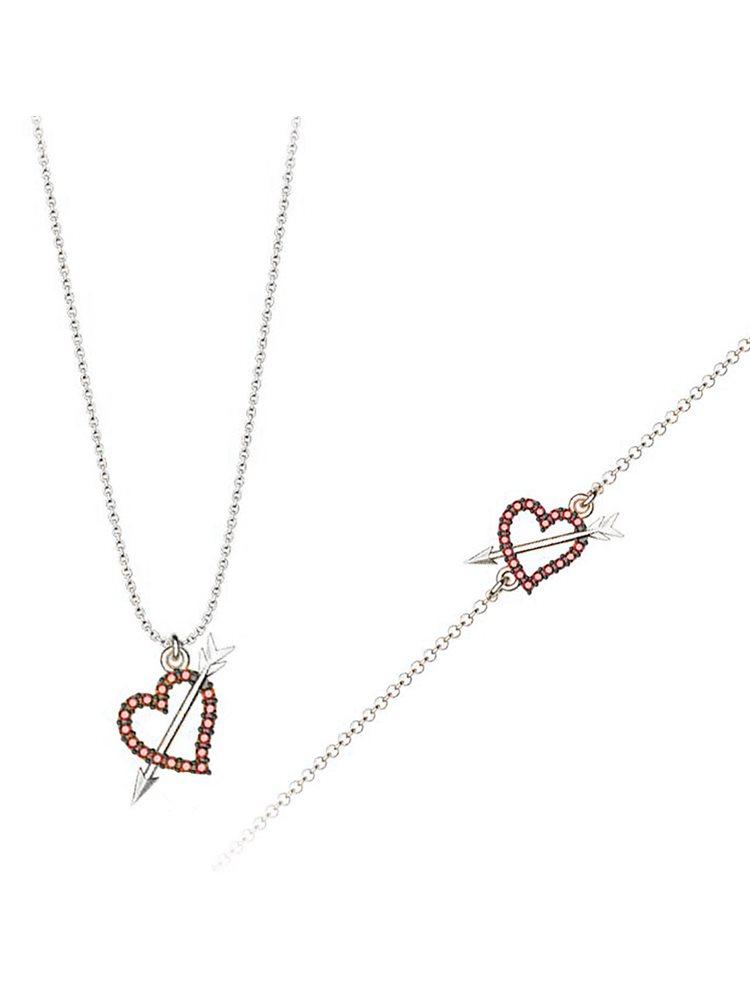 Σέτ κοσμημάτων βραχιόλι και κολιέ συλλογή Love καρδιά με βέλος από ασήμι με πέτρα Swarovski